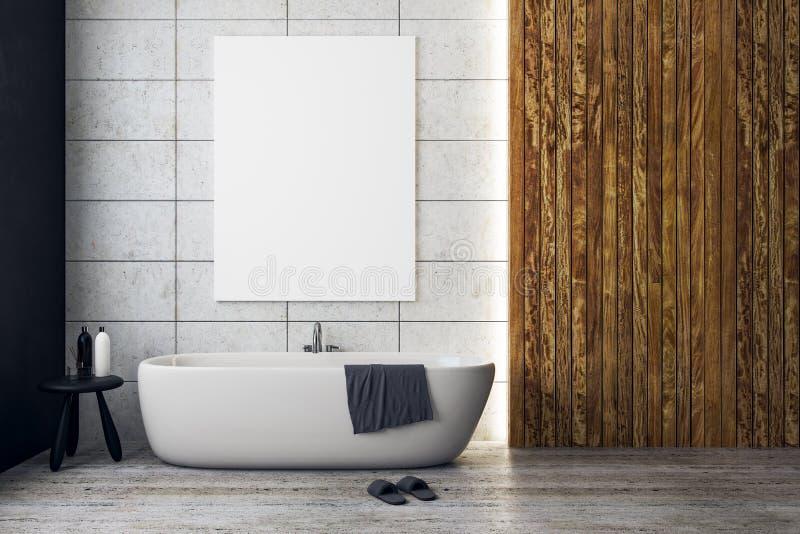 Banheiro contemporâneo com bandeira vazia imagens de stock