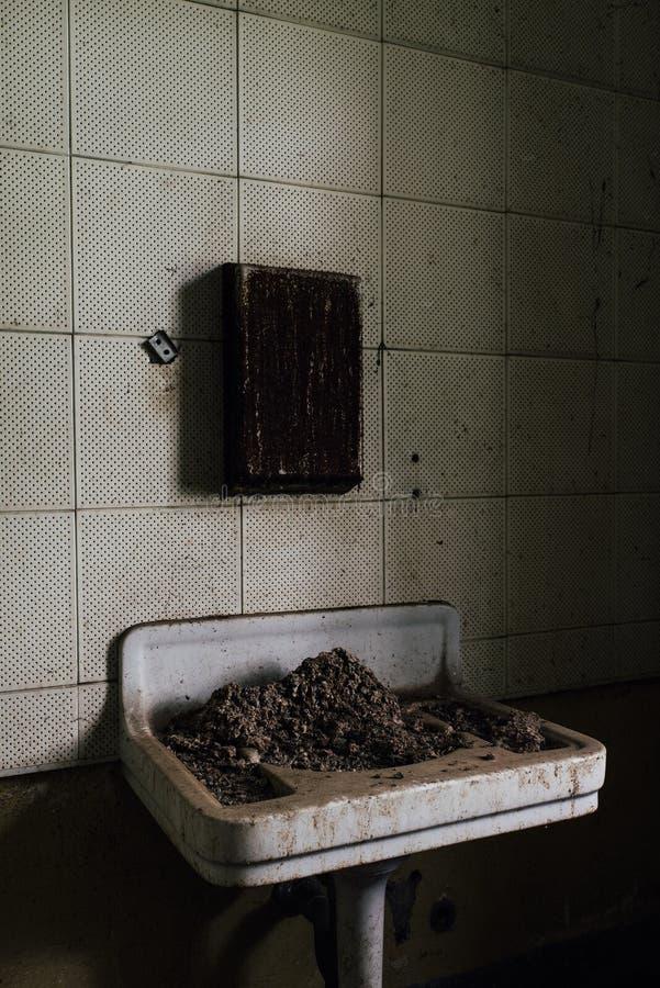 Banheiro do vintage com dissipador - hospital/sanatório abandonados - New York fotos de stock royalty free