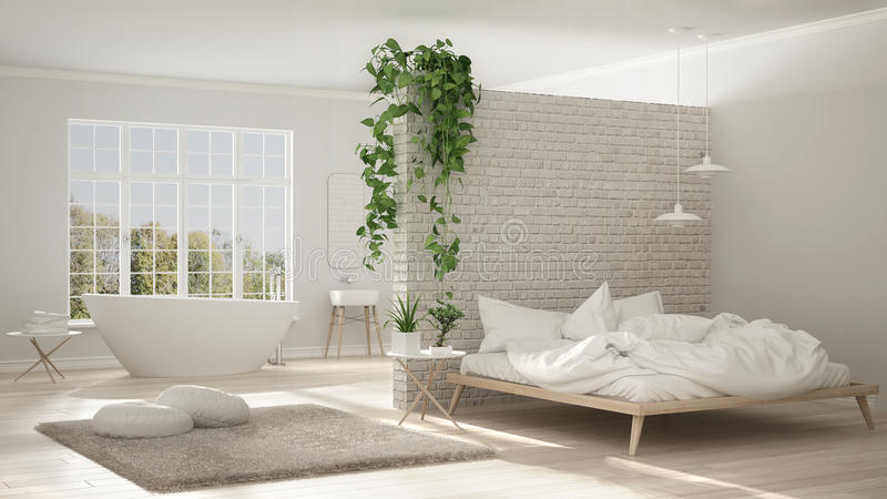 Banheiro e quarto minimalistas brancos escandinavos, espaço aberto, ilustração do vetor
