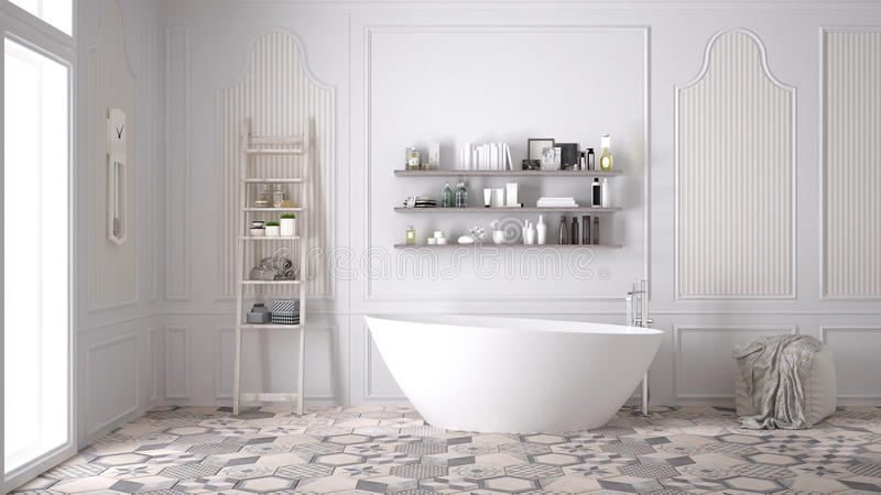 Banheiro escandinavo, design de interiores branco clássico do vintage imagens de stock royalty free
