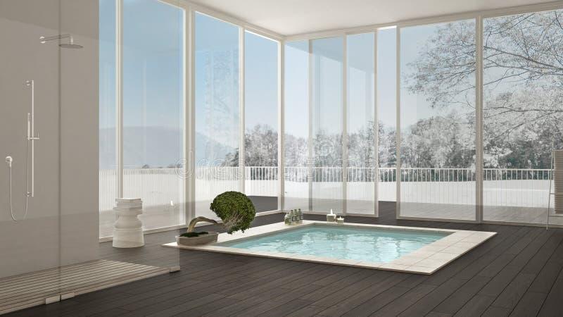 Banheiro escandinavo, design de interiores minimalistic branco, w grande ilustração stock