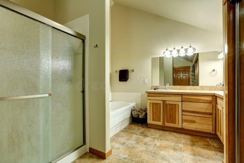 Banheiro mestre agradável com grande chuveiro, armários de madeira fotografia de stock