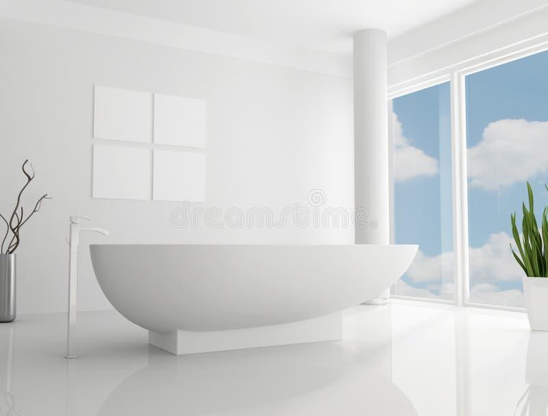 Banheiro minimalista branco ilustração royalty free