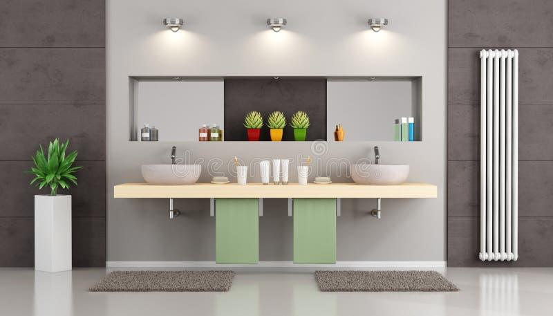 Banheiro moderno com bacia dobro ilustração do vetor