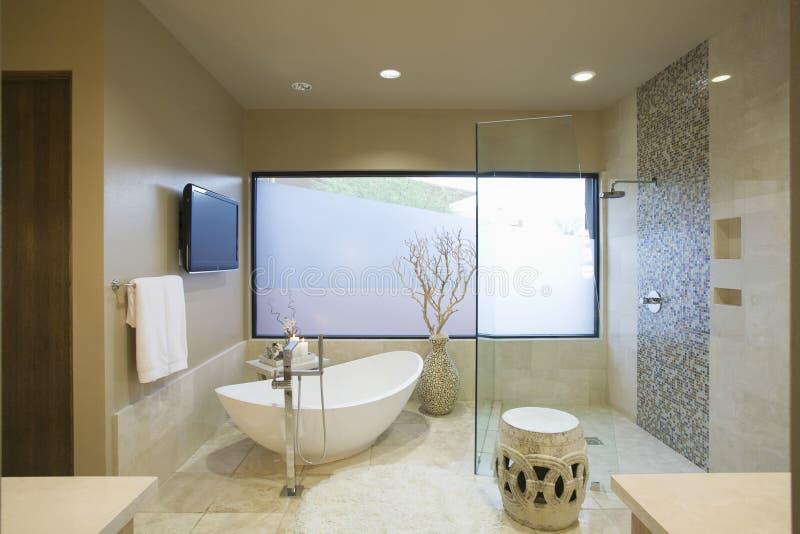 Banheiro moderno com banho autônomo foto de stock royalty free