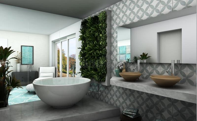 Banheiro moderno com jardim vertical e impressão oriental ilustração do vetor