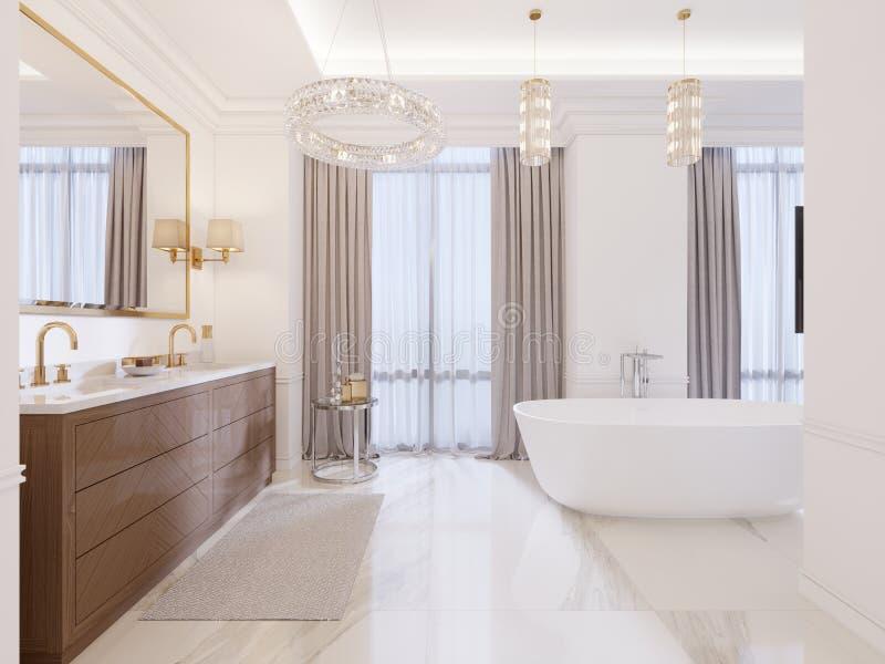 Banheiro moderno com vaidade e um espelho em um quadro do ouro com os candelabros de parede na parede, em uma baixa tabela com de ilustração stock