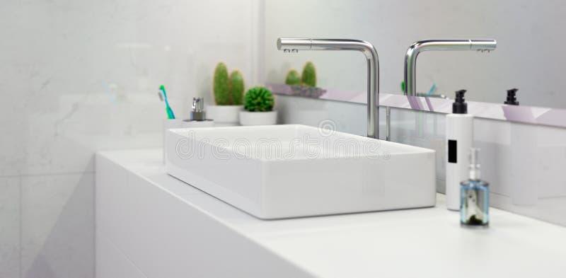 Banheiro moderno 3d interior que torna minimalistic, brilhante ilustração royalty free