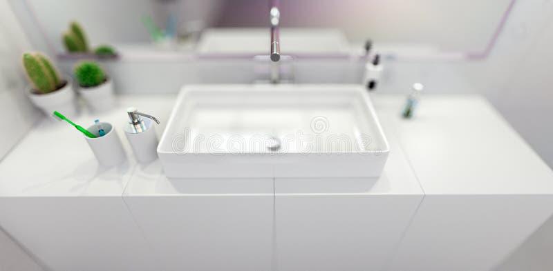 Banheiro moderno 3d interior que torna minimalistic, brilhante ilustração do vetor