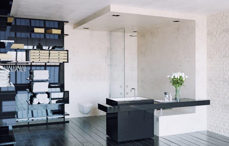 Banheiro moderno do sótão ilustração stock