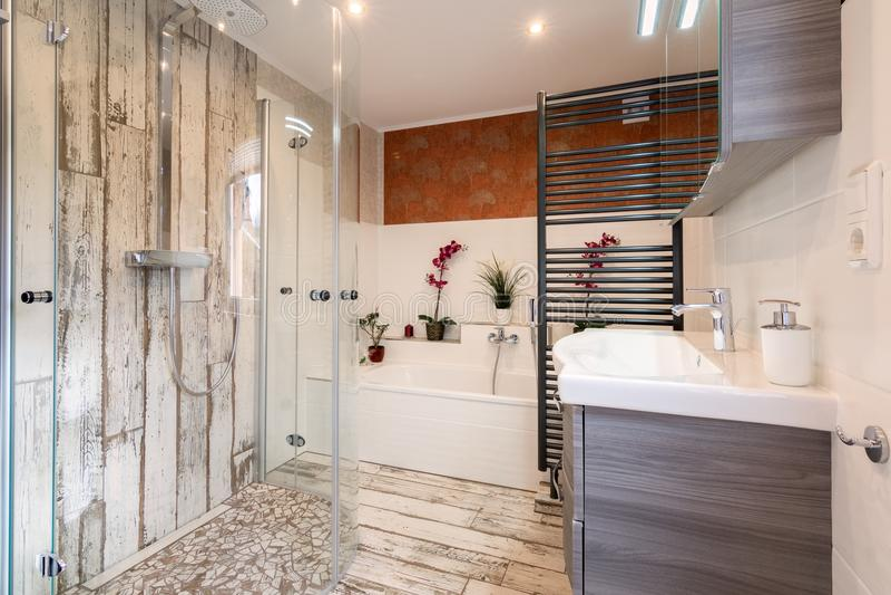 Banheiro moderno no estilo do vintage fotografia de stock royalty free