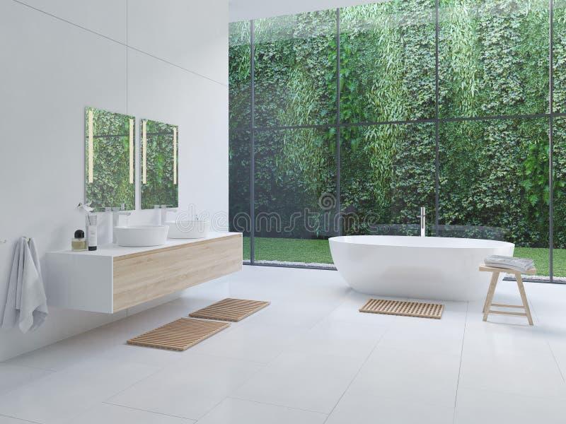 banheiro moderno novo do zen 3D com plantas tropicas rendição 3d ilustração royalty free