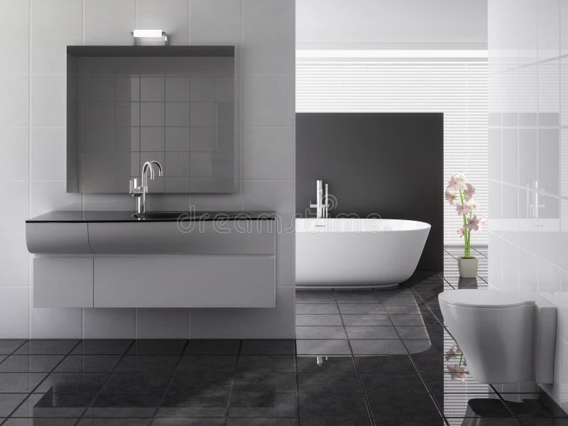 Banheiro moderno que inclui o banho e o dissipador ilustração royalty free