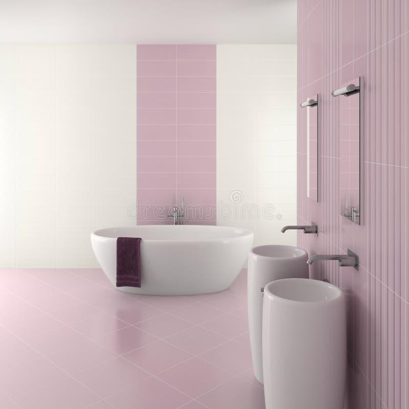 Banheiro moderno roxo com bacia dobro ilustração royalty free