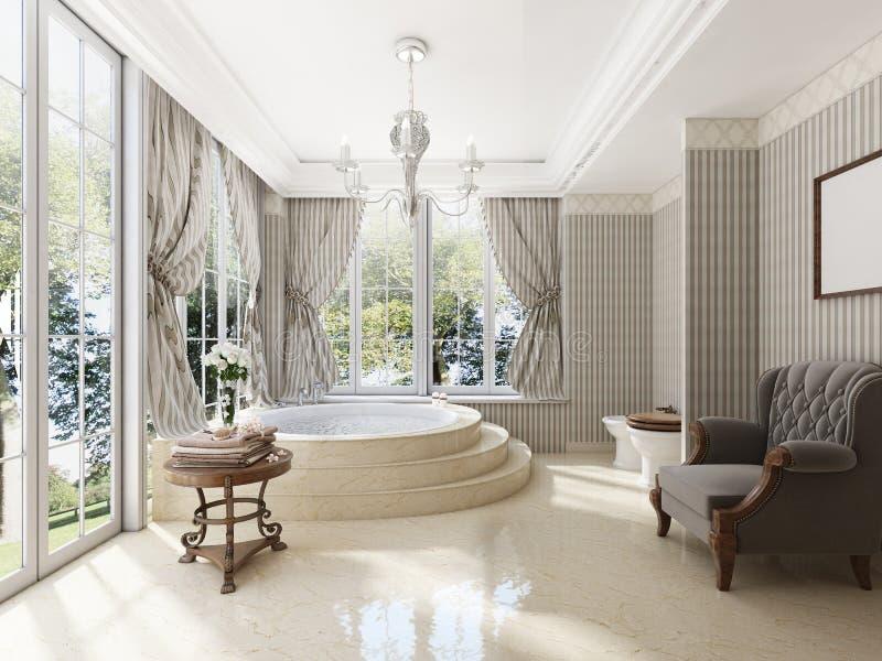 Banheiro no estilo neo-clássico luxuoso com cubas dos dissipadores e um lar ilustração do vetor