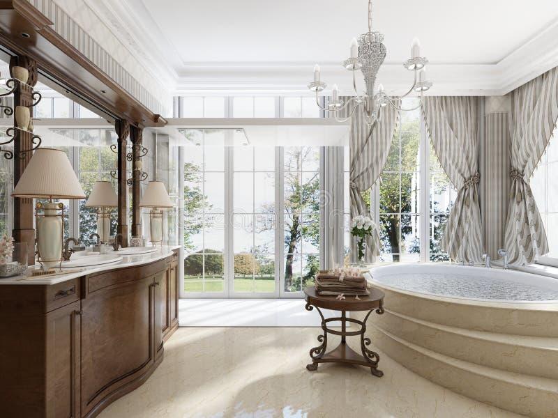 Banheiro no estilo neo-clássico luxuoso com cubas dos dissipadores e um lar ilustração stock