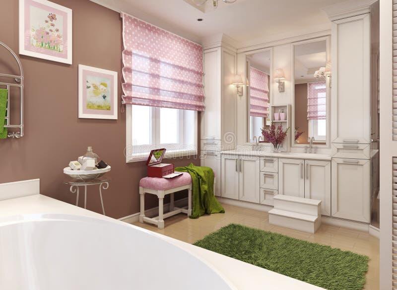 Banheiro para meninas no estilo clássico ilustração royalty free