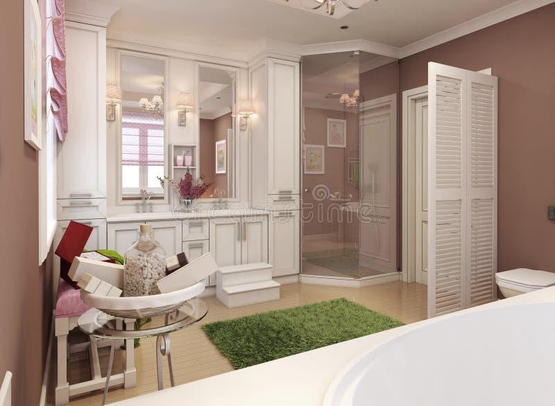 Banheiro para meninas no estilo clássico ilustração do vetor