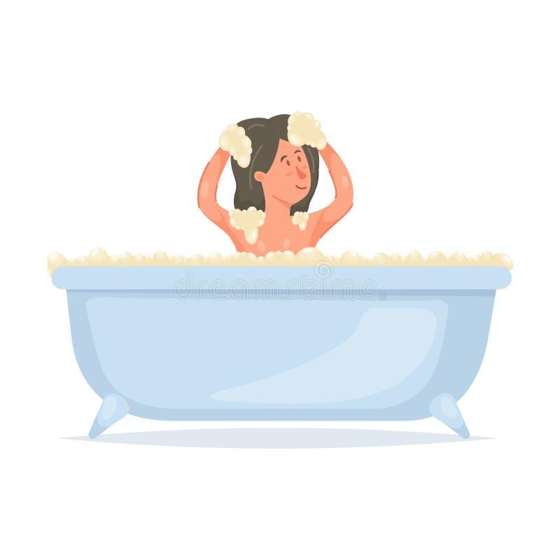 Banho bonito da tomada da moça, lavando sua cabeça ilustração do vetor