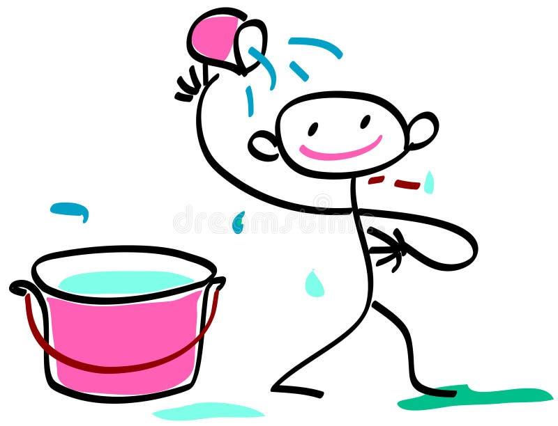 Banho da criança ilustração royalty free