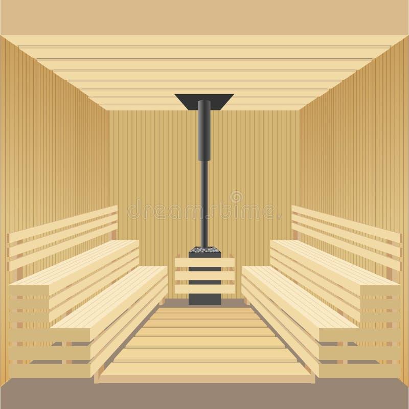 Banho de madeira moderno da sauna com fogão de pedra Ilustração do vetor ilustração royalty free