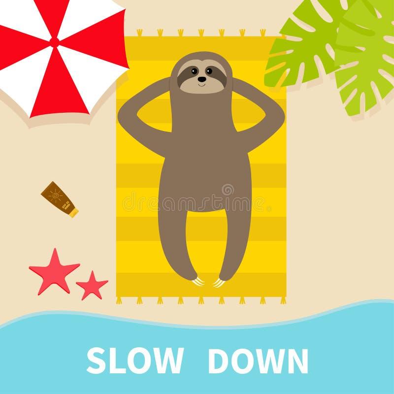 Banho de sol da preguiça na toalha de praia Slow down Olá! verão Vista aérea superior Oceano do mar, guarda-chuva, folha da palme ilustração do vetor