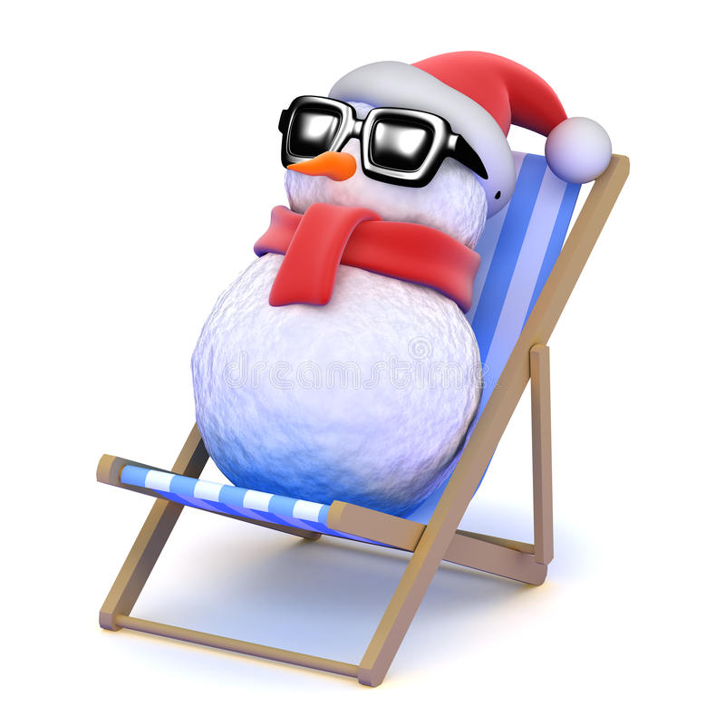 banho de sol do boneco de neve 3d em um deckchair ilustração do vetor