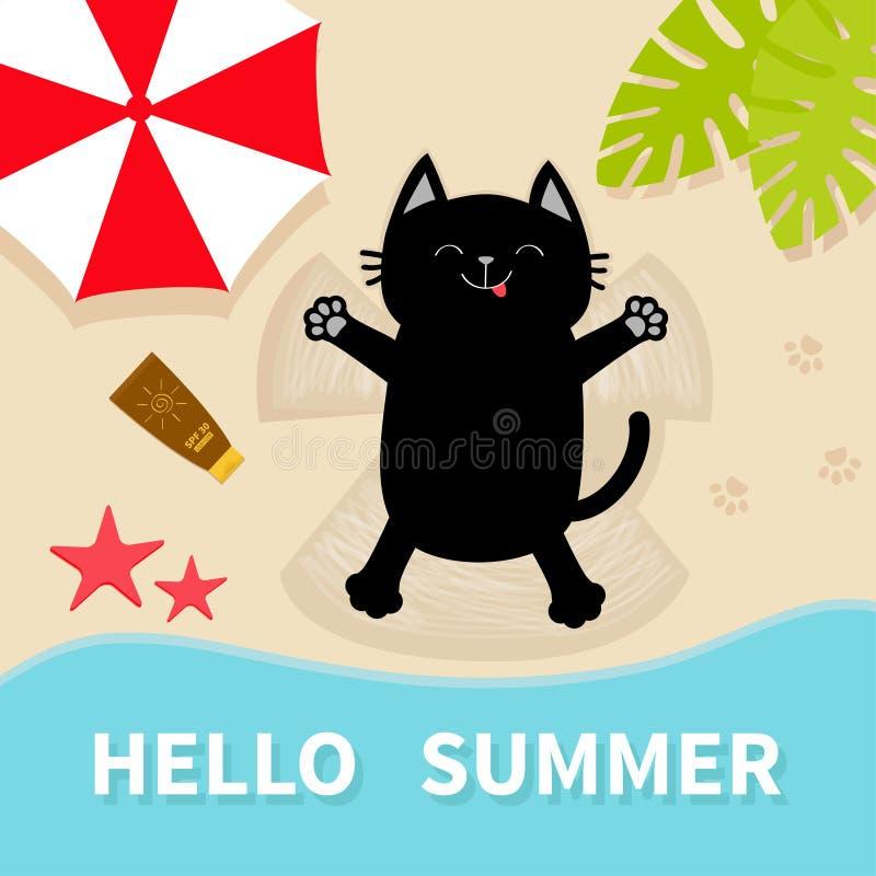 Banho de sol do gato preto na praia Fazendo o anjo da neve da areia Olá! verão Vista aérea superior Encalhe, oceano do mar, guard ilustração do vetor