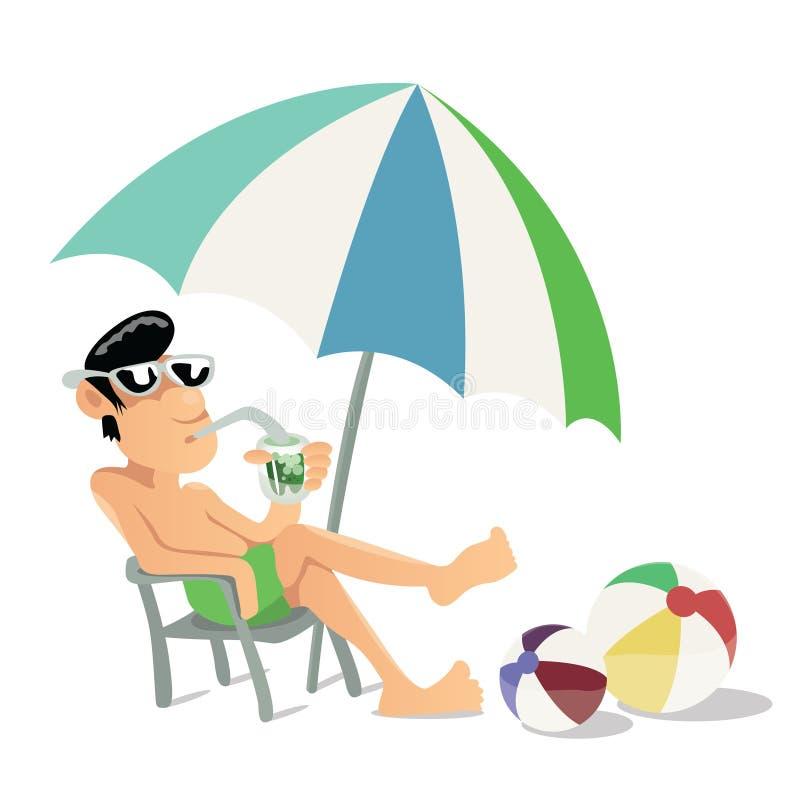 Banho de sol do indivíduo na ilustração do vetor da praia ilustração do vetor