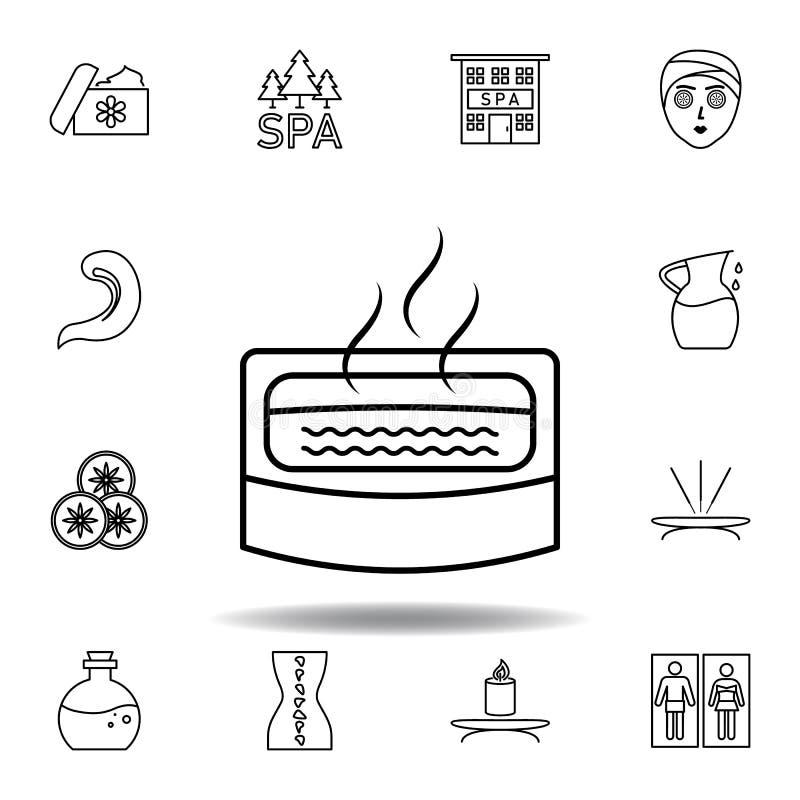 banho do ícone do esboço da imersão Grupo detalhado de termas e para relaxar o ícone das ilustrações Pode ser usado para a Web, l ilustração do vetor