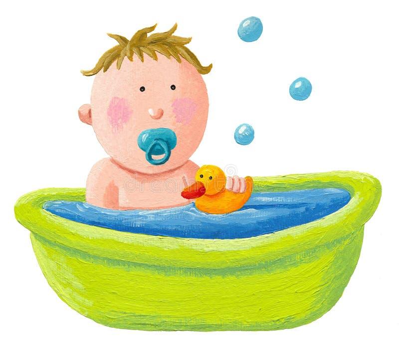 Banho do bebê com um pato de borracha amarelo ilustração do vetor
