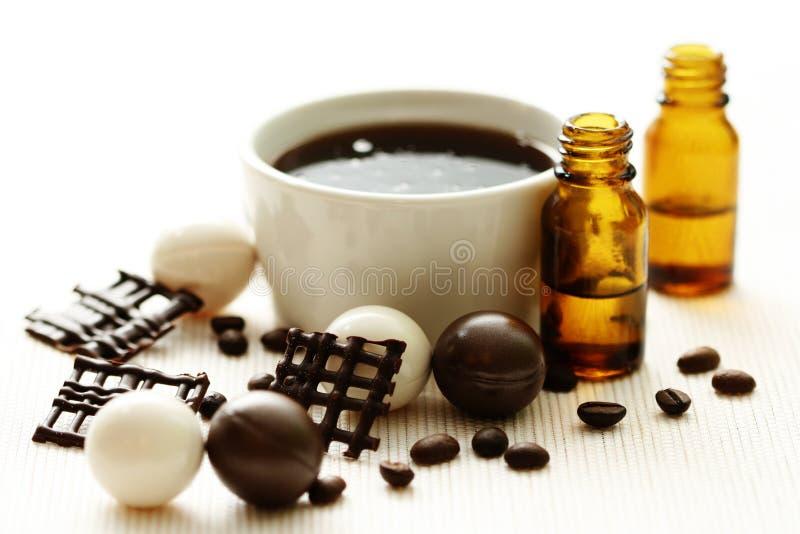 Banho do chocolate e do café imagem de stock