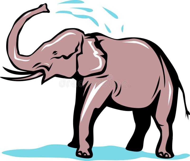 Banho do elefante ilustração royalty free