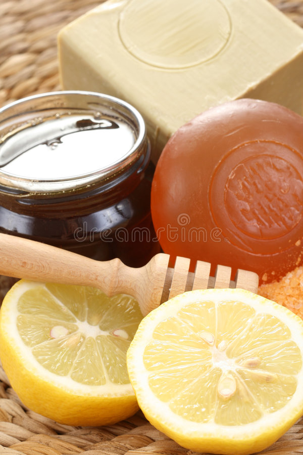 Banho do mel e do limão foto de stock