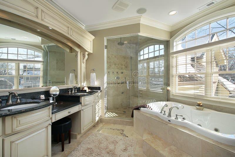 Banho mestre com chuveiro de vidro imagem de stock