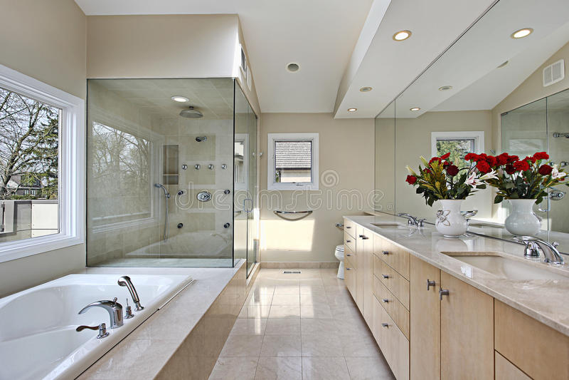 Banho mestre com chuveiro de vidro foto de stock