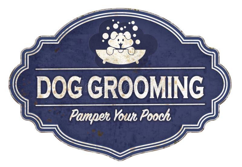 Banho retro dos cachorrinhos do esmalte do vintage do sinal da preparação do cão ilustração do vetor