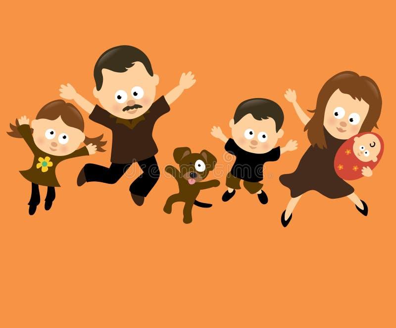 banhoppning för 3 familj stock illustrationer
