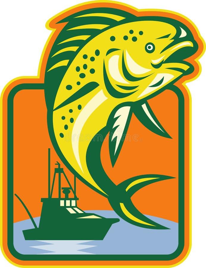 banhoppning för fartygdelfinfisk vektor illustrationer