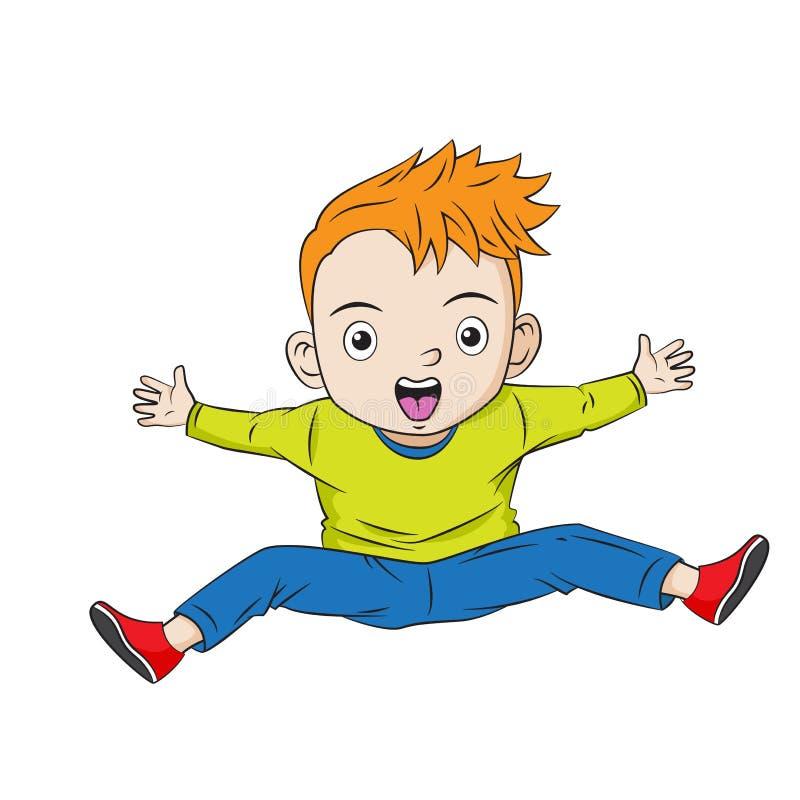 Banhoppning och skrika för tecknad filmpojke royaltyfri illustrationer
