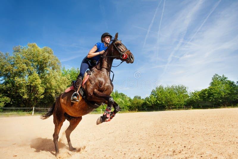 Banhoppninghäst och ryttare som öva på löparbanan arkivbilder