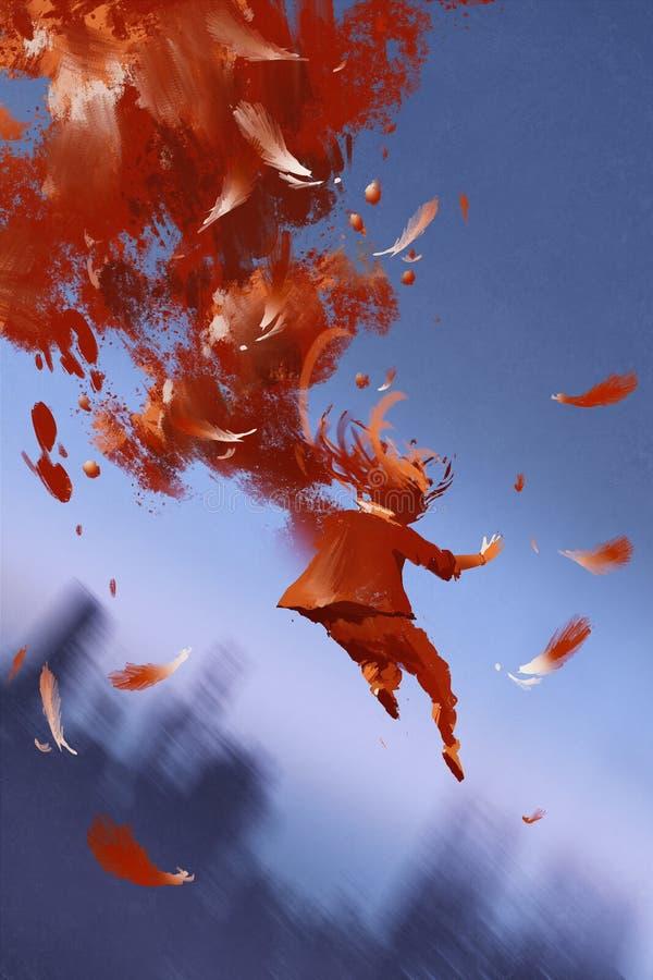 Banhoppningman och röda fjädrar på blå bakgrund stock illustrationer