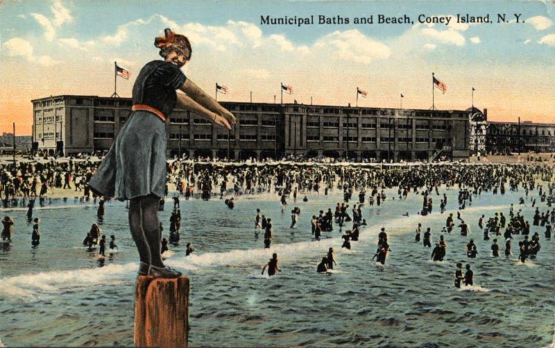 Banhos e praia municipais, console de Coney foto de stock