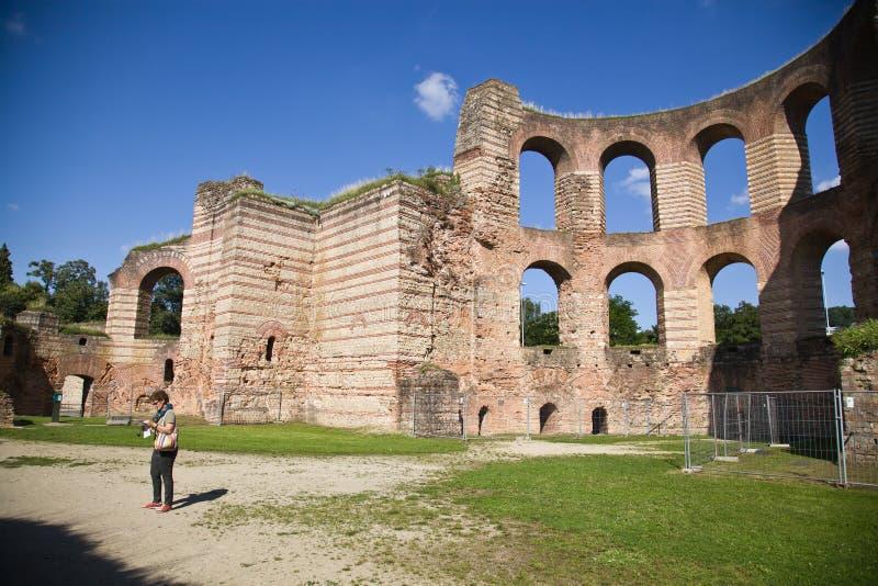 Banhos imperiais, Kaiserthermen, Trier, Alemanha fotografia de stock
