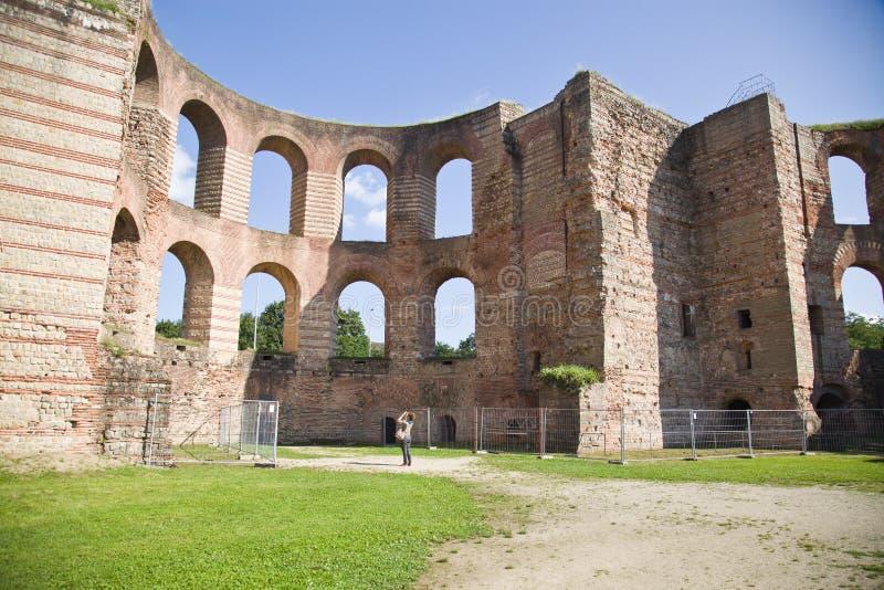 Banhos imperiais, Kaiserthermen, Trier, Alemanha fotos de stock
