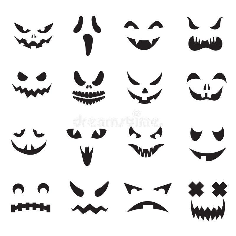 Bani twarze Halloweenowe dźwigarki o twarzy latarniowe sylwetki Potwora duch rzeźbi strasznych oczy i usta wektorowe ikony ustawi royalty ilustracja