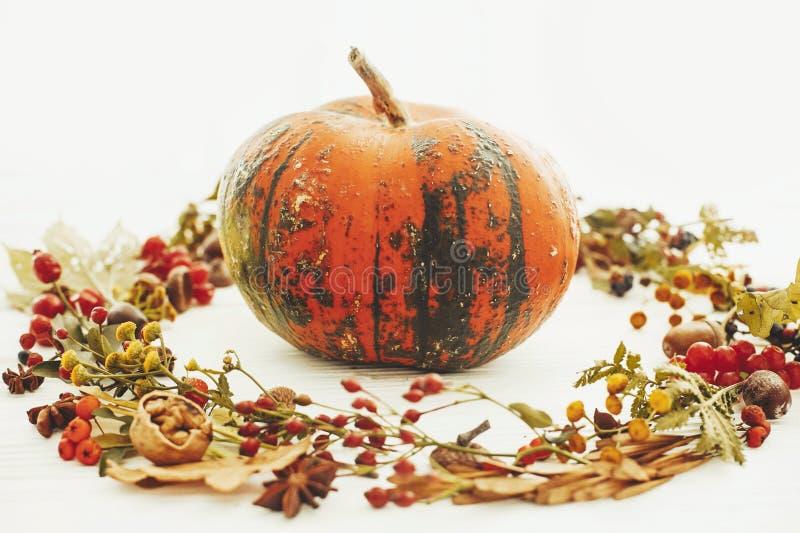 Bania w jesień liściach wianki, jagody, dokrętki, acorns, kwiaty, obraz royalty free