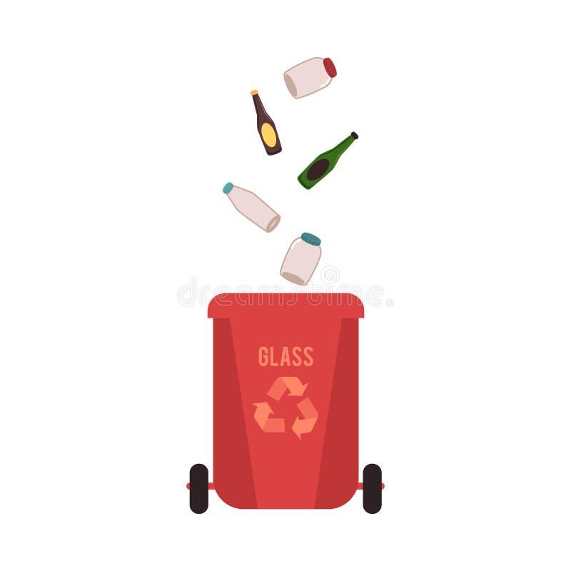 Banialuka czerwony kosz z szkło śmieci i odpady ilustracja wektor