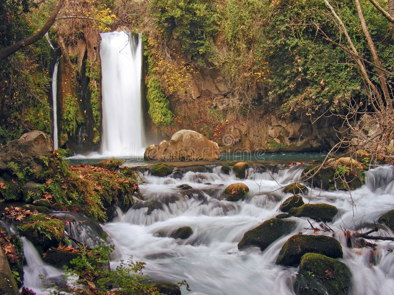 Banias river waterfall stock photo