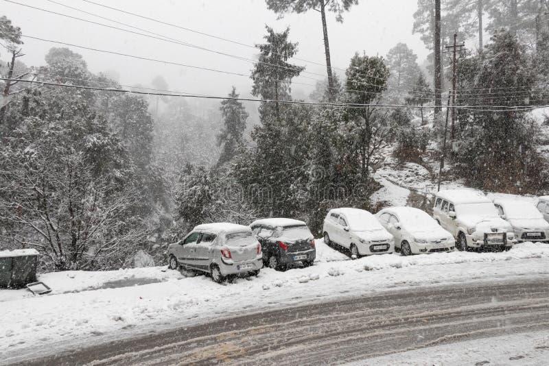 Banikhet, Dalhousie, Himachal Pradesh, India - gennaio 2019 Le conseguenze delle precipitazioni nevose pesanti, della strada e de immagine stock